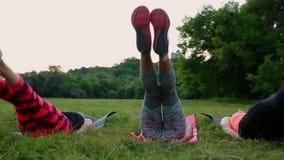 Mening av dina absflickor Grupp av ungt idrotts- folk i sportswearen som gör fysiska övningar på grönt gräs i sommar stock video