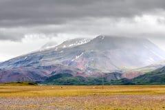 Mening bij berglandschap in IJsland Royalty-vrije Stock Fotografie