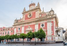 Mening bij de kerk van Salavador in Sevilla, Spanje Stock Afbeeldingen