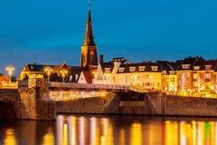 Mening bij de Nederlandse brug van Sint Servaas in Maastricht Stock Fotografie