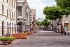 Mening bij de straat in Guayaquil van de binnenstad Stock Foto