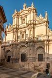 Mening bij de voorgevel van Kathedraal San Patrick in Lorca, Spanje royalty-vrije stock afbeelding