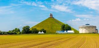 Mening bij de Watrloo-Heuvel met Herdenkingsslag opf Waterloo in België royalty-vrije stock foto