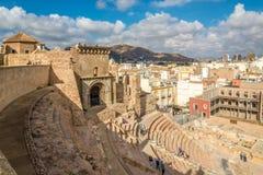 Mening bij het oude Roman theater in Cartagena - Spanje stock foto's