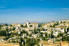 Mening bij oude stad van Granada stock fotografie