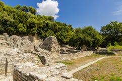 Mening bij ruïnes van oude stad Butrint in Albanië Stock Afbeeldingen