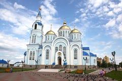 Mening bij Tempel van Kazan pictogram van de moeder van god in Saransk, Repulic Mordovië Stock Fotografie