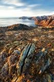 Mening boven groot mooi meer, het meer van Baikal, Rusland Royalty-vrije Stock Afbeeldingen