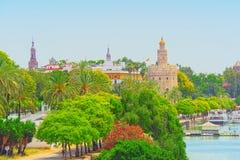 Mening de stad in van de Rivierpromenade van Sevilla en van Guadalquivir royalty-vrije stock foto's