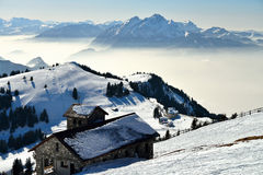 Mening van alp Rigi in de winter Stock Afbeelding