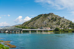 Mening dichtbij Shkodar-stad van Rozafa-Kasteel, Albanië Stock Afbeelding