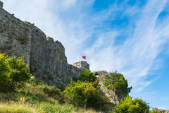 Mening dichtbij Shkodar-stad van Rozafa-Kasteel, Albanië Royalty-vrije Stock Foto