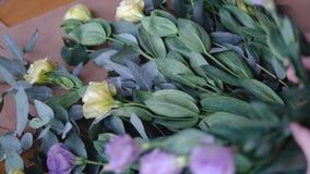 Mening die van bloemist bouqet in bloemwinkel schikken stock videobeelden