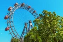 Mening door Ferris Wheel in Wenen oostenrijk Royalty-vrije Stock Fotografie