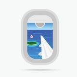 mening door vliegtuigvenster op de paradijs overzeese illustratie Stock Afbeeldingen