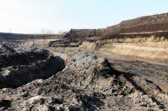 Mening in een open kolenmijn Stock Foto's