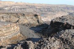 Mening in een open kolenmijn Stock Afbeeldingen