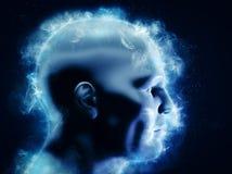 Mening, hjärnmakt och energibegrepp mänskligt huvud 3D med glödande abstrakta former Arkivfoton