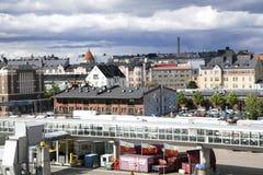 Mening langs de rivieroever en de zeehaven van Turku, Finland Royalty-vrije Stock Afbeelding