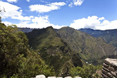 Mening in Machu Picchu van Huayna Picchu in Peru - Zuid-Amerika Stock Afbeelding