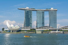 Mening in Marina Bay in Singapore stock afbeelding