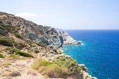 Mening met blauwe lagune op Kreta, Griekenland Royalty-vrije Stock Afbeeldingen