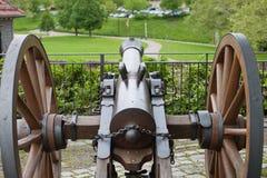 Mening met oud kanon Stock Foto's