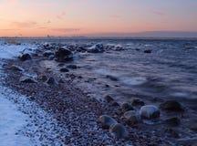 Mening naar Tallinn, extreme koude Stock Foto's