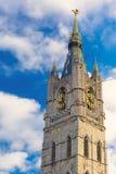 Mening omhoog bij de Klokketoren in Gent, België royalty-vrije stock afbeeldingen