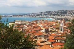 Mening op Nice en Mediterraan, Frankrijk Royalty-vrije Stock Foto