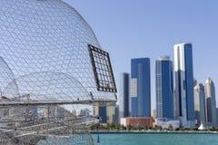 Mening over Abu Dhabi van de visserijhaven Stock Afbeelding