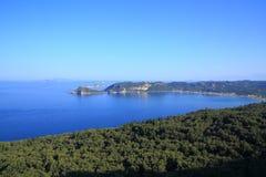 Mening over Agios Georgios Pagon op het eiland van Korfu Stock Afbeelding