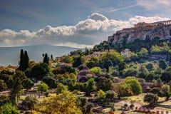 Mening over Akropolis van oud Agora, Athene, Griekenland Royalty-vrije Stock Foto's