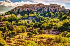Mening over Akropolis van oud Agora, Athene, Griekenland Royalty-vrije Stock Afbeeldingen