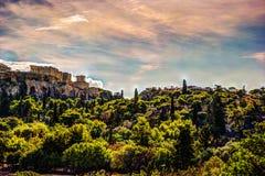 Mening over Akropolis van oud Agora, Athene, Griekenland Stock Foto's