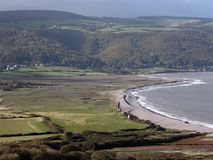 Mening over Baai Porlock in Exmoor Royalty-vrije Stock Foto's