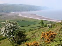 Mening over Baai Porlock in Exmoor Stock Foto's
