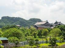 Mening over Bai Dinh-tempel in Ninh Binh Royalty-vrije Stock Fotografie