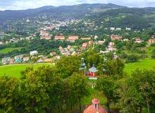 Mening over Banska Stiavnica (Slowakije) Royalty-vrije Stock Foto's