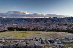 Mening over Cusco Peru tijdens Zonsondergang Stock Fotografie