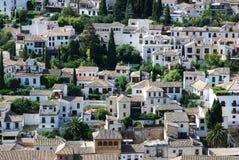 Mening over daken van Granada Stock Fotografie