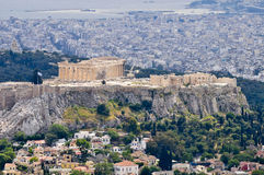 Mening over de akropolis Royalty-vrije Stock Foto's