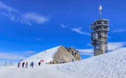 Mening over de bovenkant van Mt Titlis Stock Foto