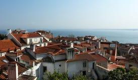 Mening over de daken van het centrum van de stad van Lissabon Royalty-vrije Stock Foto