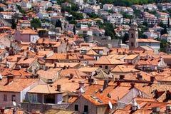 Mening over de daken van de oude stad van Dubrovnik royalty-vrije stock foto