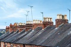 Mening over de daken van terrasvormige huizen in Chester City royalty-vrije stock afbeeldingen