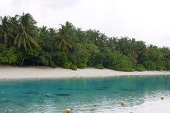 Mening over de Eilanden van de Maldiven van vliegtuig kust Stock Afbeeldingen
