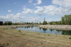 Mening over de elektrische centrale van Tchernobyl Royalty-vrije Stock Foto's