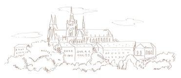 Mening over de kathedraal van Praag en St. Vitus Royalty-vrije Stock Foto