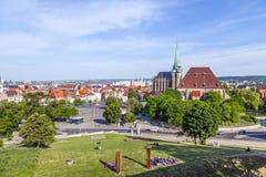 Mening over de Kathedraalheuvel in Erfurt Royalty-vrije Stock Afbeeldingen